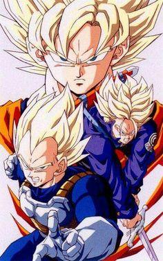 Goku Vegeta and Trunks