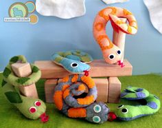 "Felt ""rattle"" snakes. Easy to sew snakes with rattles inside."
