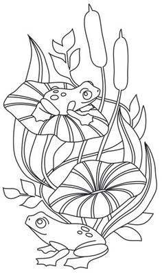 Let this adorable frog scene play out on home decor, sweatshirts, and more. Downloads as a PDF. Use pattern transfer paper to trace design for hand-stitching.