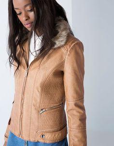 Bershka fur neck imitation leather jacket Latex Fashion 444f353d6