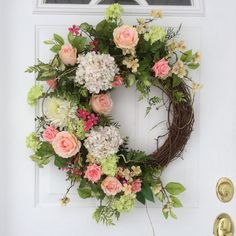Spring Wreath-Summer Wreath-Hydrangea Wreath-Easter Wreath-Mothers Day Wreath-Spring Wreath for Door-French Country Wreath-Wedding Wreath  A lush