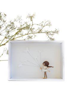 3d Frames, 3d Pictures, Felt Fairy, Miniature Figurines, Waldorf Dolls, Fairy Dolls, Fairy Gardens, Handmade Art, Shadow Box