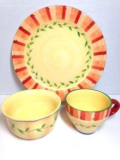 Pfaltzgraff Napoli Dishes 3 Piece Dinner Plate Soup Mug Cereal Bowl  #Pfaltzgraff