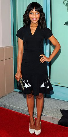 Kerry Washington looks fabulous in a structured black dress and eye popping white pumps. click the picture to get her shoe look!