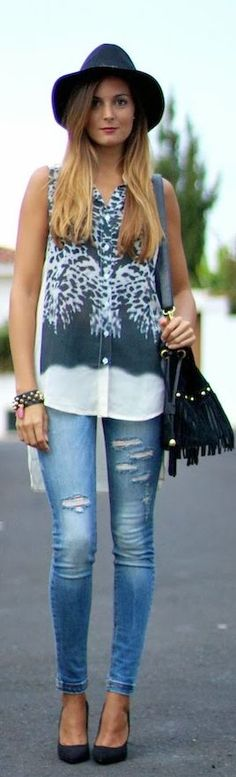 #Ripped #Jeans And #Leopard by Marilyn's Closet