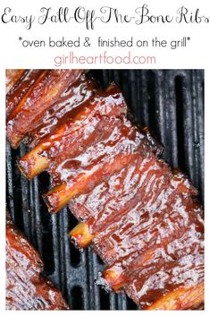 Low Carb Recipes To The Prism Weight Reduction Program This recipe for easy fall-off-the-bone ribs is delicious! Pork ribs are coated with a simple spice mixture, baked, brushed with bbq sauce & then grilled. The only rib recipe you'll need! Baked Spare Ribs, Oven Baked Ribs, Ribs In Oven, Bbq Pork Ribs, Pulled Pork, Pork Spare Ribs Grilled, Pork Spare Ribs Recipe Grill, How To Grill Ribs, Grilling Ribs