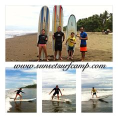 First time surfers and they all got up, success!!!  Great job guys!!! #surfcamp #surfschool #surflesson #costarica #dominical #costaricasurfvacation