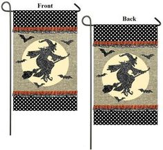 Halloween Evergreen EverOptics Here Comes Witch Silhouette Garden Flag  18x12 | Flags