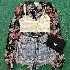 kimono+bralette+high waisted shorts