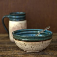 Rustic Woodland Blue Soup bowl-Cereal bowl. $21.00, via Etsy.
