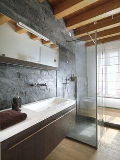 Bathroom decor idea: stone and wood finishes for a natural bathroom design. Glass Bathroom, Glass Shower, Bathroom Wall, Master Bathroom, Bathroom Photos, Bathroom Sinks, Bathroom Storage, Bad Inspiration, Bathroom Inspiration