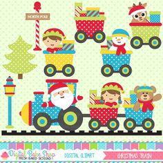 christmas clipart train clip art santa - Christmas Train Clipart $5