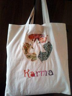 Karma krąży- torba decoupage