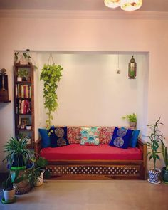 I was not aware that my madness for pl… Living green life ! I was not aware that my madness for plants will be growing with every day. Living Room Designs India, Indian Living Rooms, India Home Decor, Ethnic Home Decor, Living Room Decor Colors, Colourful Living Room, Indian Room Decor, Small Balcony Decor, Indian Home Interior