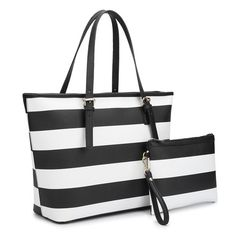 31f50294d801 Anais Gvani Bags Classic Striped with Free Matching Accessory Black White  Saffiano Faux Leather Tote
