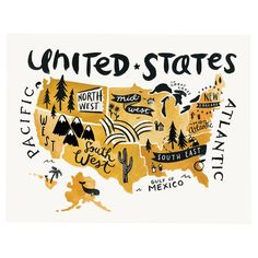 Add charming appeal to your entryway or home office with this lovely print, showcasing a whimsical hand-drawn ochre map of the United States highlighting eac. United States Map, 50 States, Country Maps, Travel Illustration, Digital Illustration, Map Design, State Map, Travel Maps, Map Art