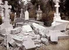 Graves at the Northern cemetery 1917 Color photo by Fernand Cuville.