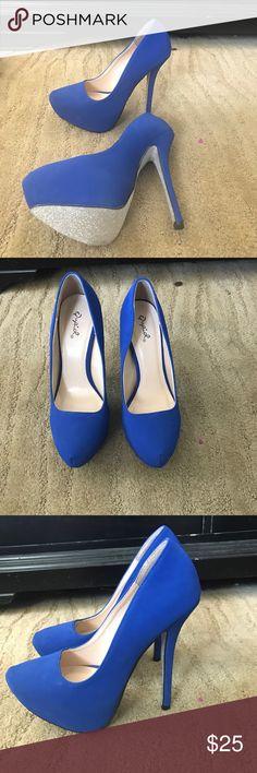 🎉host pick🎉 Blue High Heels. Never Worn Very Cute blue high heels. Sparkly Bottoms. Never Worn Shoes Platforms