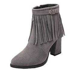 #MatchLife #Damen #Stiefel #High #Heel #Schnallen #Quasten #Grau #EU34/CH35…