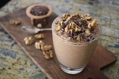 Walnut Breakfast Mousse/Smoothie 3/4 c almond milk 4 tsp walnuts 1/8 of an avocado 1 tbs chia seeds 1/2 tbs cocoa powder 1 tsp maple syrup 1/2 tsp maca powder 1/4 tsp cacao nibs 1/8 tsp cinnamon 1/4 tsp vanilla pinch salt blend all ingredients until smooth store overnight and serve the next day