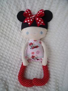 I created this custom order Minnie Mouse doll using a bit of whimsy pattern.  Her little ears are removable :)