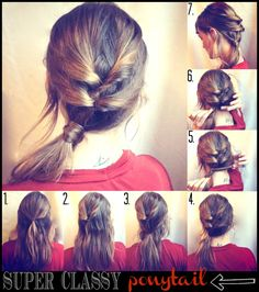 how-to hair girl, super classy ponytail by yesenia No Heat Hairstyles, Diy Hairstyles, Pretty Hairstyles, Heatless Hairstyles, Cute Ponytails, Hair Arrange, Hair Dos, Hair Hacks, Her Hair