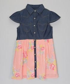 Loving this Coral Floral Chambray Shirt Dress - Girls on #zulily! #zulilyfinds