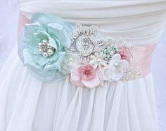 Bridal Sash-Wedding Sash In Vintage Peachy Pink by AGoddessDivine