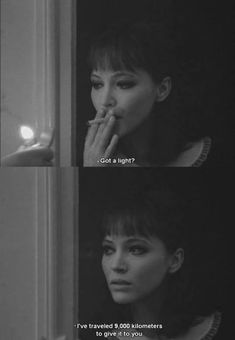 """Got a light?"" - Anna Karina in Godard's ""Alphaville"", Cinema Quotes, Film Quotes, Citations Film, French New Wave, Jiddu Krishnamurti, Jean Luc Godard, Provocateur, Movie Lines, Les Sentiments"