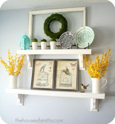 love the pop of yellow flowers with the robins egg blue!