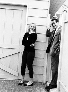 Eva Marie Saint & Paul Newman on the set of 'Exodus', 1960.