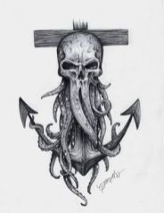 Davy Jones Skull and Anchor Print – octopus tattoo Pirate Skull Tattoos, Octopus Tattoos, Leg Tattoos, Body Art Tattoos, Tattoos For Guys, Navy Tattoos, Pirate Octopus Tattoo, Pirate Tattoo Sleeve, Nautical Tattoo Sleeve