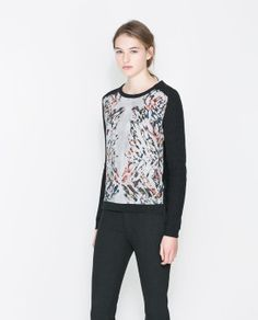 Image 1 of SWEATER WITH PRINTED FRONT PANEL from Zara