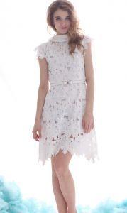 White Lapel Lace Belt Embellished Chiffon Dress $83