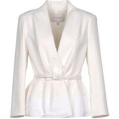 Carolina Herrera Blazer ($1,600) ❤ liked on Polyvore featuring outerwear, jackets, blazers, white, white jacket, long sleeve jacket, carolina herrera jacket, blazer jacket and carolina herrera