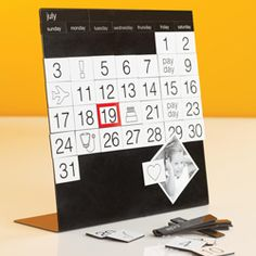 The Magnadate Calendar makes planning fun. This perpetual style calendar works for any month and any year.    The magnetized desktop board includes magnets for the month, day and date. You set-up the month and then use included symbol magnets for travel, appointments and even pay-days.    Any unused magnets can be stored on the back.