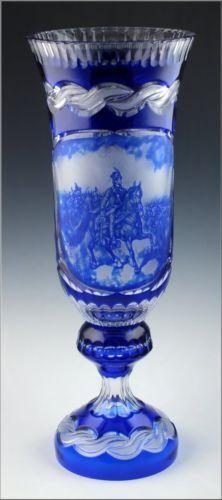Large Artist Signed Cobalt Blue Cut Overlay Glass Vase w Engraved Scene | eBay