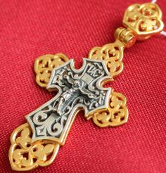 OLD STYLE RUSSIAN ORTHODOX ICON CROSS, SILVER+GOLD. NEW, RARE. CHRISTIAN JEWELRY