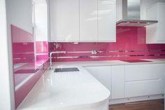 "Glass Kitchen Splashback with Mirror Stripe- ""Telemagenta"" by CreoGlass Design (London, UK). View more glass kitchen splashbacks and non-scratch worktops on www.creoglass.co.uk. #kitchen #modernkitchen"