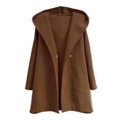 Brown Oversized Hooded Cardigan (1 270 UAH) ❤ liked on Polyvore featuring outerwear, coats, jackets, cardigans, knit coat, hooded coat and brown coat