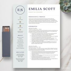 """Beat the competition with this creative resume design, """"The Emilia."""" A more stylish resume design for creative jobs. Popular and successful for my customers looking for a marketing, sales, fashion, or… Board: Favorite Fast Food Places Modern Resume Template, Creative Resume Templates, Cv Template, Creative Resume Design, Professional Resume Design, Graphic Design Resume, Professional Development, Microsoft Word, Resume Tips"""