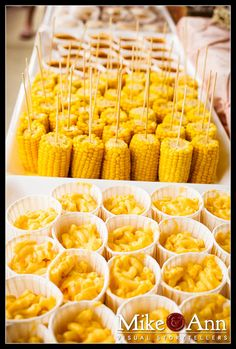 corn on a stick, mac-n-cheese cups