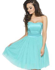 8b8df6a5de Koktajlowa sukienka z tiulu na wesele Km114-1 turkus Kartes-Moda