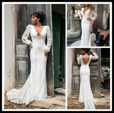 Find More Wedding Dresses Information about Gorgeous 2015 Lace Mermaid Wedding Dress With Long Sleeve Sexy Pierced open back wedding party gowns Vestido de Noiva NT 548,High Quality Wedding Dresses from Suzhou Amy wedding dress co., LTD on Aliexpress.com
