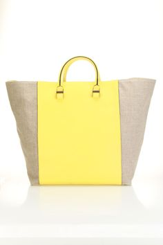 59a4ef94ae Victoria Beckham Contrast Linen Leather Shopper Bag In Yellow - Beyond the  Rack Victoria Beckham Bags