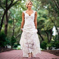 Pretty Floral Lace Rustic Wedding Dresses V Neck Cap Sleeve Country Style Lace Wedding Dress Backless Vestido de Novia YY393