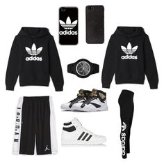 """""""My Couple Outfit"""" by shayshaybabygurl ❤ liked on Polyvore featuring NIKE, adidas, adidas Originals and DKNY"""