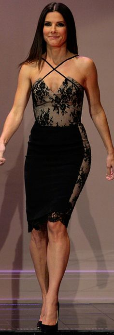 Stunning Black lace dress on my favorite funny lady: Sandra Bullock