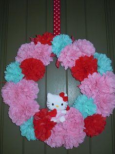 "wreath: Hello Kitty Red, Pink & Aqua / Birthday ""Hello Kitty 7th Birthday"" | Catch My Party"