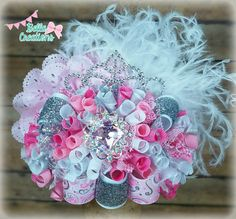 Pink princess hair bow, ott hair bow, over the top hairbow, birthday hair bow, bling pageant hair bow, Princess crown bow, tiara hair bow